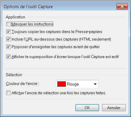 outil capture options
