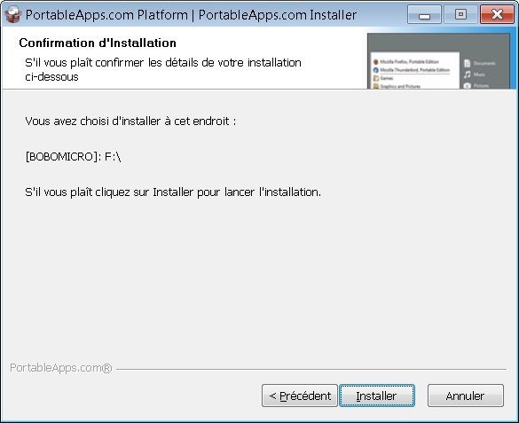 confirmation et installer