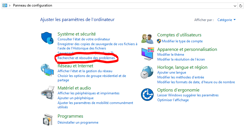 windows 10 rechercher et resoudre des problemes