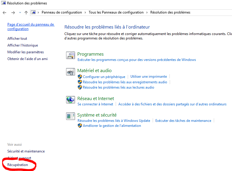 windows 10 recuperation bouton